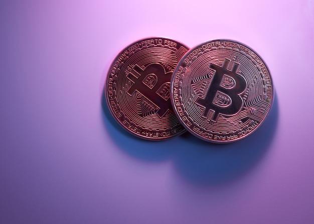 Zwei goldene bitcoins isoliert auf rosa lila hintergrund nahaufnahme mit kopierraum