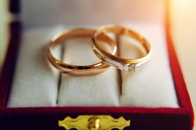 Zwei goldene eheringe in roter schachtel, nahaufnahme. ringe für braut und bräutigam, selektiver fokus.