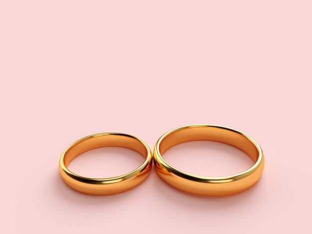 Zwei goldene eheringe mit leerzeichen