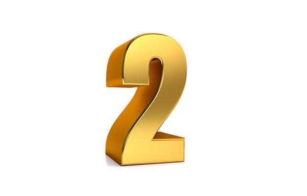 Zwei goldene nummer 2 der 3d-darstellung auf weißem hintergrund und kopienraum auf der rechten seite für text am besten für jubiläumsgeburtstag neujahrsfeier