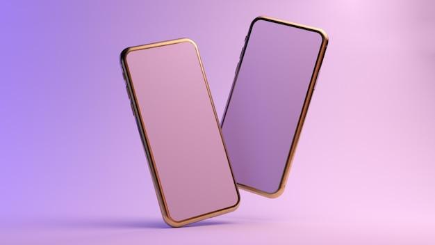 Zwei goldene smartphone schweben