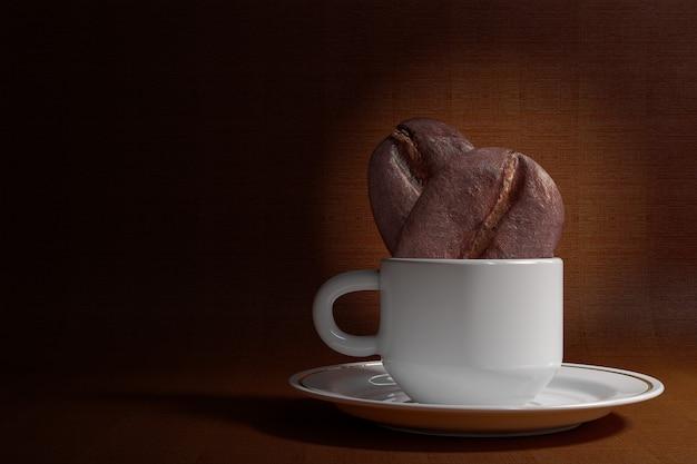 Zwei große kaffeebohnen in kaffeetasse auf braunem hintergrund. 3d-rendering