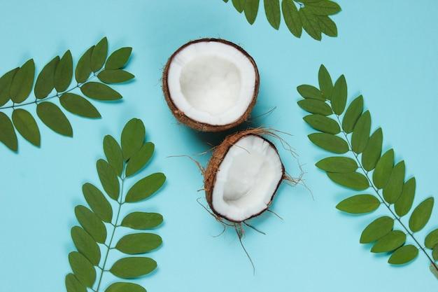 Zwei hälften der gehackten kokosnuss auf blauem hintergrund mit grünen blättern