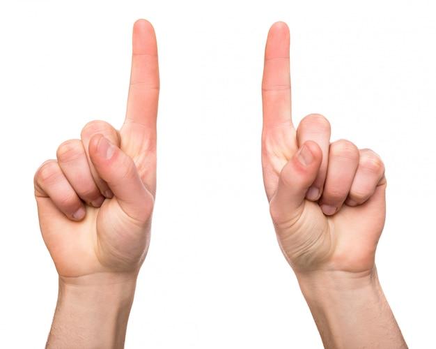 Zwei hände mit dem finger oben auf weiß zeigend