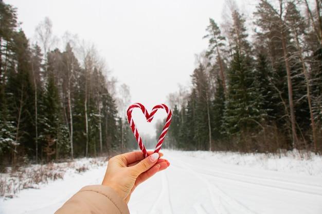 Zwei herzförmige minzbonbons, st. valentinstagsymbol, romantisches dessert auf dem hintergrund des winterwaldes