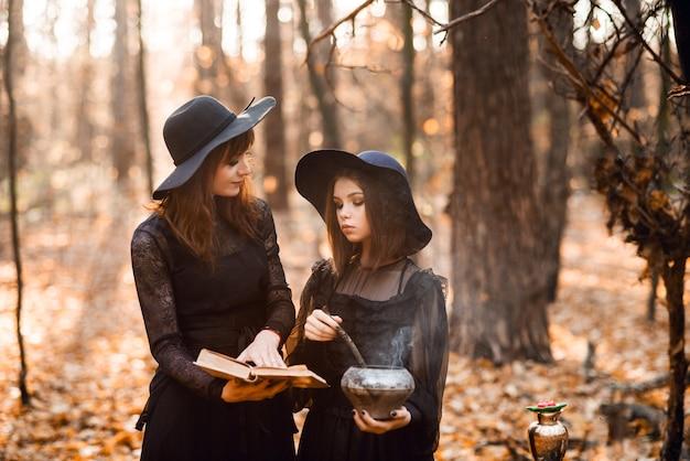 Zwei hexen im herbstwald. mutter und tochter brauen einen trank.