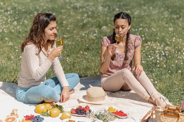 Zwei junge frauen sitzen auf einer decke mit früchten und probieren während eines picknicks ein glas weißwein.