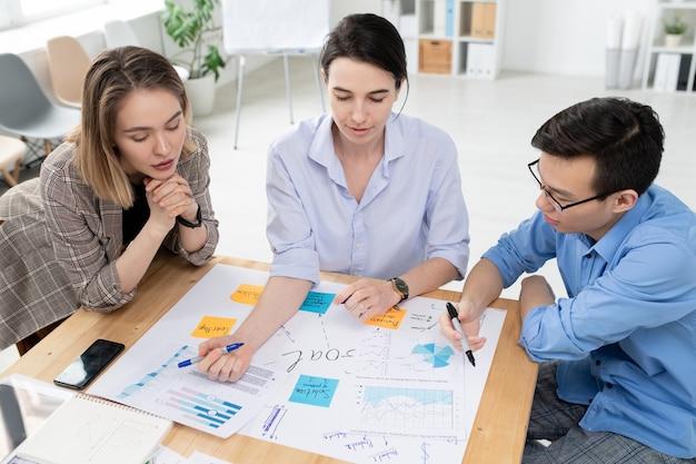 Zwei junge frauen und geschäftsmann, die großes papier mit geschäftszielen betrachten, während brainstorming und neue ideen beim treffen diskutieren