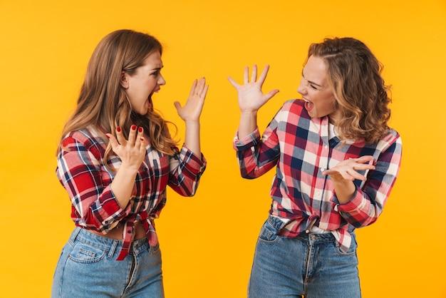Zwei junge schöne mädchen, die ein kariertes hemd tragen, schreien und kämpfen isoliert