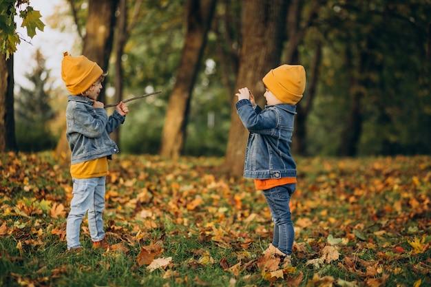 Zwei jungenbrüder, die spaß im park haben