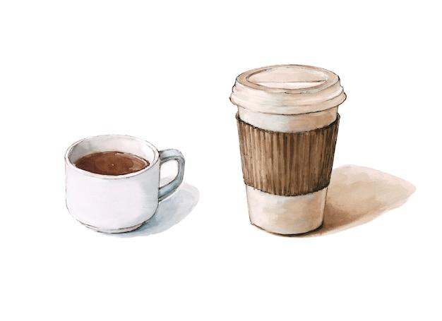 Zwei kaffeepapiertasse und eine tasse kaffee, illustration