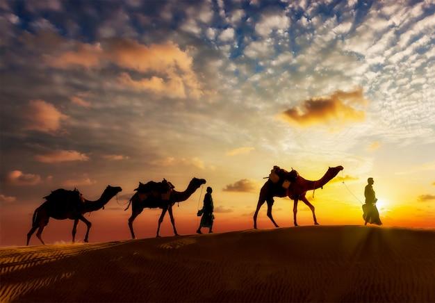 Zwei kameltreiber kameltreiber mit kamelen in den dünen von thar deser