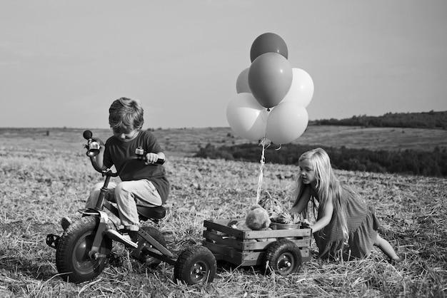 Zwei kinder, die spaß im feld gegen hintergrund des blauen himmels haben. öko-resort-aktivitäten. kinder bauer