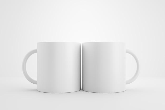 Zwei klassische weiße tasse und vorderansicht auf weißem hintergrund mit leerem schablonenmodellstil. leere tasse oder getränkebecher. 3d-rendering. Premium Fotos