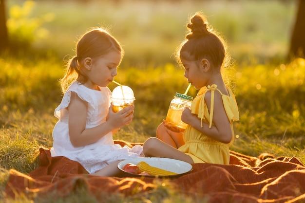 Zwei kleine gemischte mädchen trinken smoothies im freien, die an einem warmen sonnigen sommertag auf einer decke sitzen