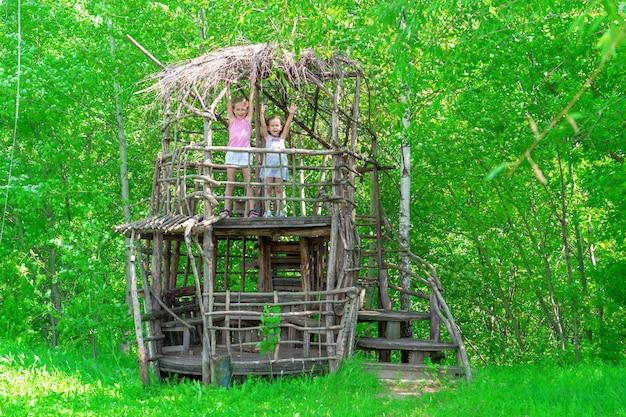 Zwei kleine glückliche mädchen in einem holzbaumhaus an einem sonnigen tag. schwestern freuen sich im sommer. das konzept des sommers.