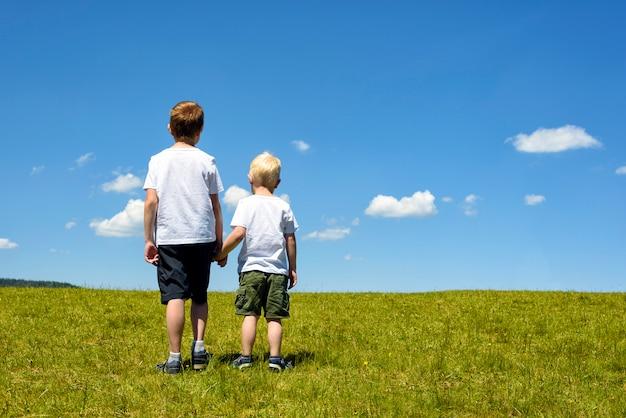 Zwei kleine jungen, die im wiesenhändchenhalten stehen