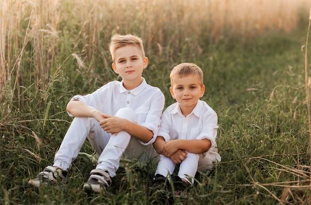 Zwei kleine jungenbrüder spielen und gehen im sommer in der natur spazieren. glückliche kindheit. positive gefühle