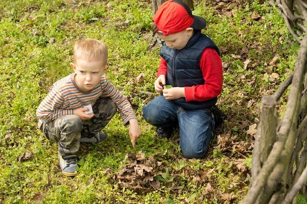 Zwei kleine jungs bauen ein lagerfeuer