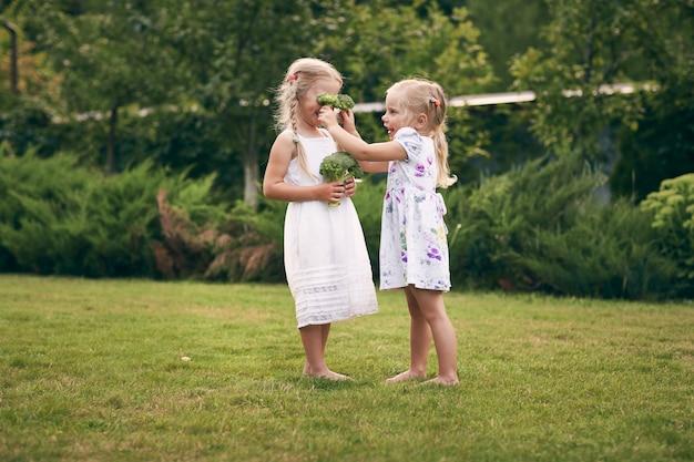 Zwei kleine mädchen in sarafans und zöpfen in einem grünen garten halten brokkoli in ihren händen. sie schließen die augen und lachen. gesundes lebensmittelkonzept, grünes vegetarisches essen. Premium Fotos