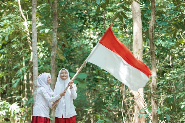 Zwei kleine muslimische mädchen, die schleier tragen, die große rote und weiße flagge halten und die flagge hissen