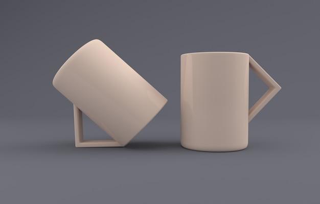 Zwei kreative tassen mockup 3d gerendert