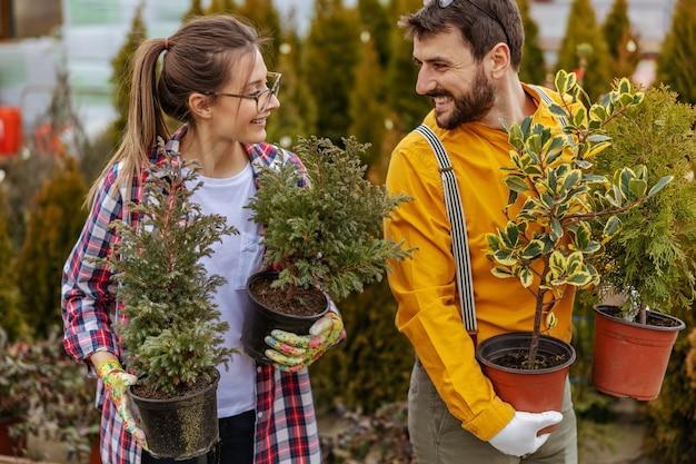Zwei lächelnde gärtner halten töpfe mit immergrünen bäumen und verlegen sie.