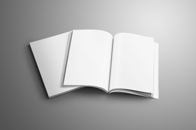 Zwei leere a4, (a5) zeitschriften mit weichen realistischen schatten isoliert auf grauer oberfläche. eine der broschüren liegt aufgeschlagen auf der zweiten broschüre.