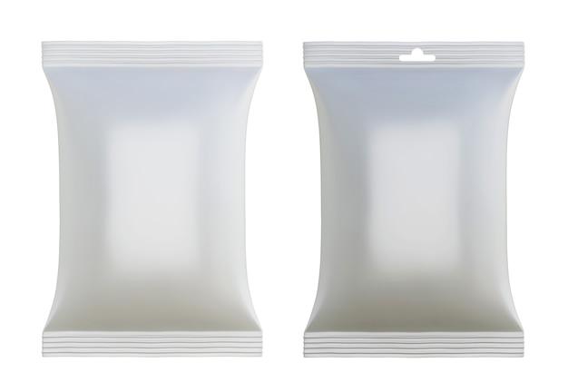 Zwei leere folienverpackungen kaffee, zucker, pfeffer oder gewürze