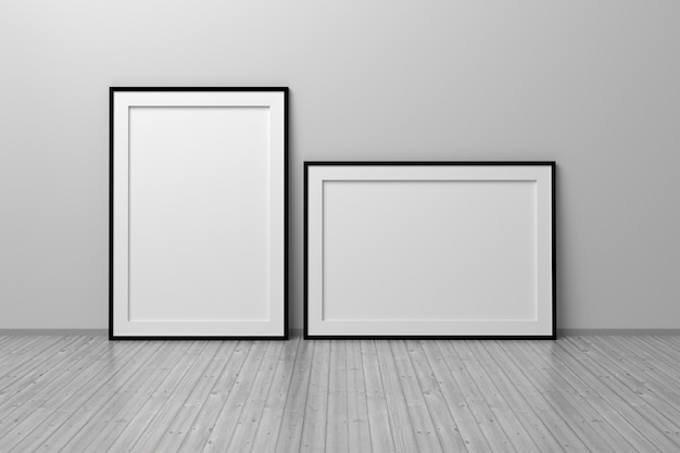 Zwei leere leere rahmen im a4-format vertikal und horizontal auf holzboden im weißen raum 3d-darstellung room