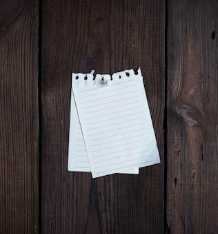 Zwei leere notizblockpapier mit einem knopf befestigt