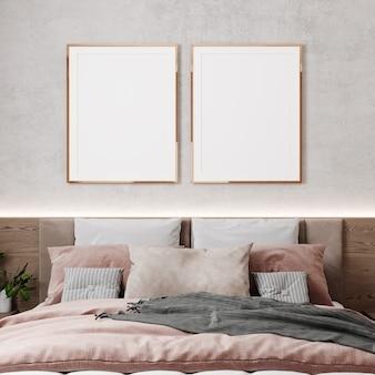 Zwei leere posterrahmenmodelle im beigen schlafzimmerinnenraum, 3d-rendering