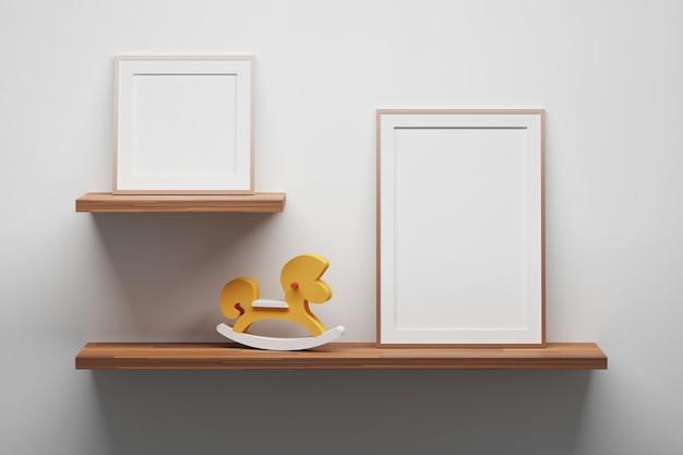 Zwei leere rahmen leinwand für bildpräsentation und holzspielzeug pferd für kinder kinder auf holzregal 3d-darstellung