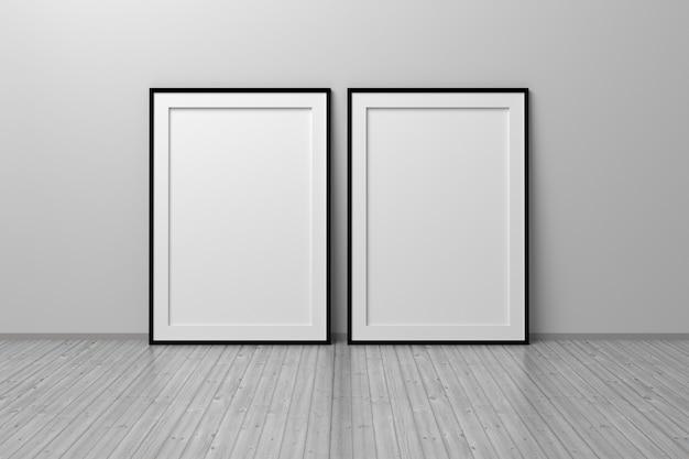Zwei leere vertikale rahmen a4, die auf reflektierendem holzboden stehen. 3d-darstellung.