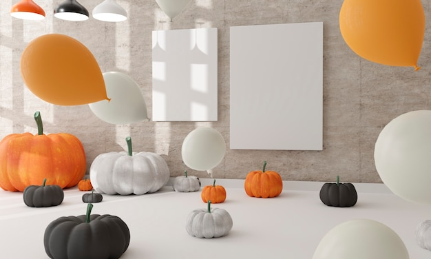 Zwei leinwand in einer wohnzimmer-halloween-dekoration. weiße und schwarze kürbisse.