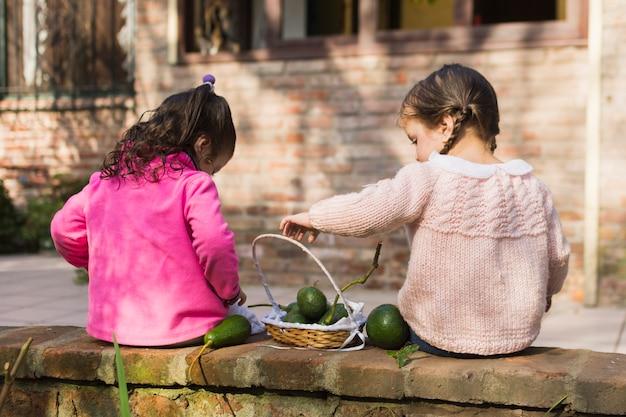 Zwei mädchen, die mit grünen avocados im korb sitzen