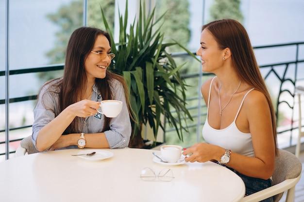 Zwei mädchen im café, das tee trinkt
