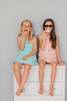 Zwei modische modellmädchen in sonnenbrille und zephyr in händen, die auf kommode über grauer wand sitzen