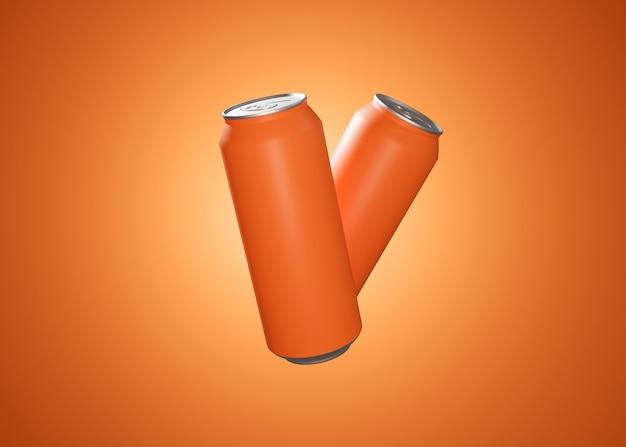 Zwei orangefarbene aluminiumdosen, die in der luft 3d-darstellung für die werbung von soda und anderen getränken aufgehängt sind