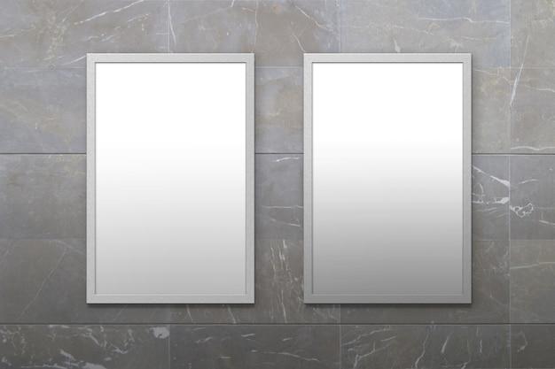Zwei plakate rahmen in steinmauer ein
