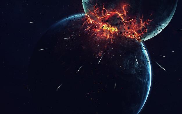 Zwei planeten kollidieren mit einer explosion