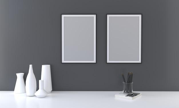 Zwei-rahmen-modell mit vasen auf dunkler wand 3d-rendering
