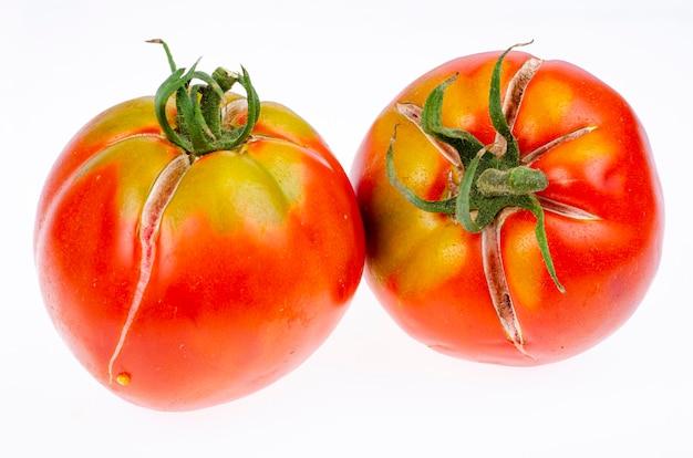 Zwei reife rote tomaten mit rissiger haut. studiofoto.