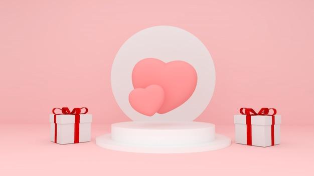Zwei rosa herzen schweben über weißem podium mit zwei geschenkboxen. valentines dreidimensionales rendering.