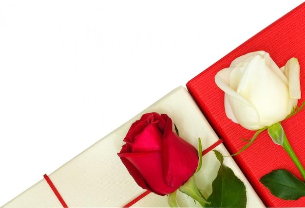 Zwei rosen auf papierkästen