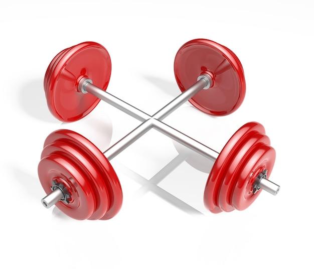 Zwei rote hanteln, die sich für fitness und übungen kreuzen.