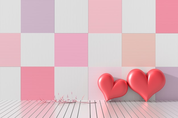 Zwei rote herzen auf hölzernem wanddekor mit rosa farben. räume der liebe am valentinstag. 3d r