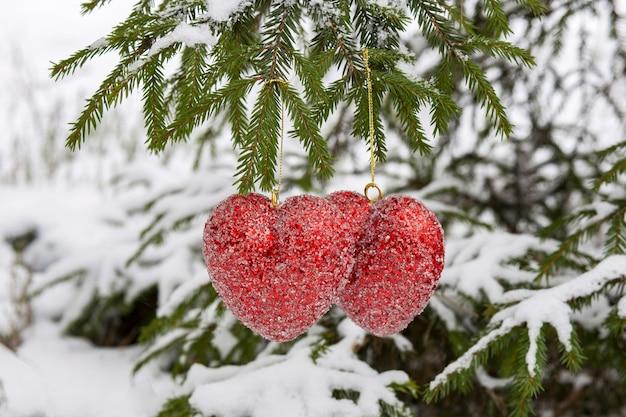 Zwei rote herzen hängen an einem baum. hintergrund: weihnachten, valentinstag, neujahr, hochzeit, engagement