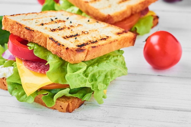 Zwei sandwiches mit schinken, salat und frischem gemüse auf einem weißen