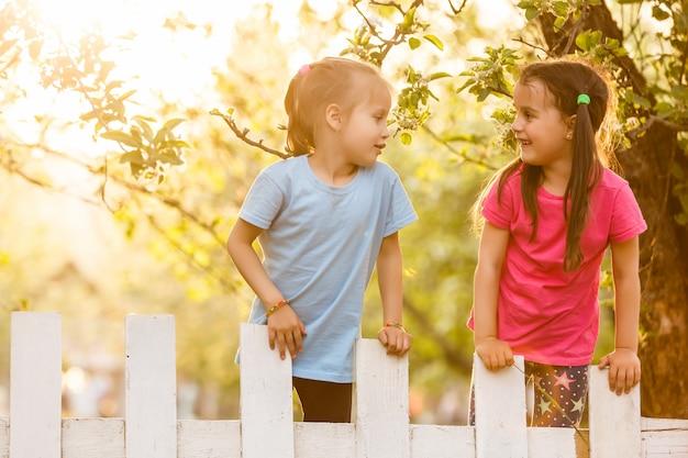 Zwei schöne junge mädchen, die im gartenzaun sitzen